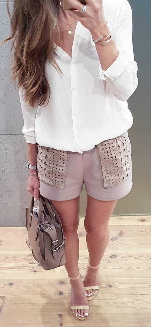 trendy casual outfit: white shirt + shorts + bag