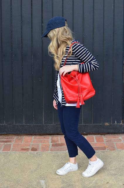 bucket bag; RED BUCKET BAG; LANDS END