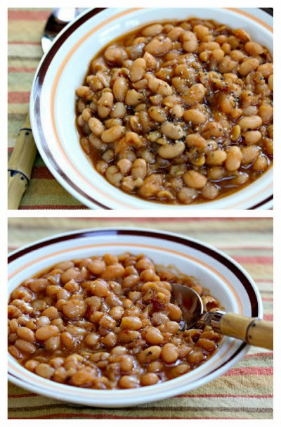Slow Cooker Vegetarian Chipotle Baked Beans from The Perfect Pantry featured on SlowCookerFromScratch.com