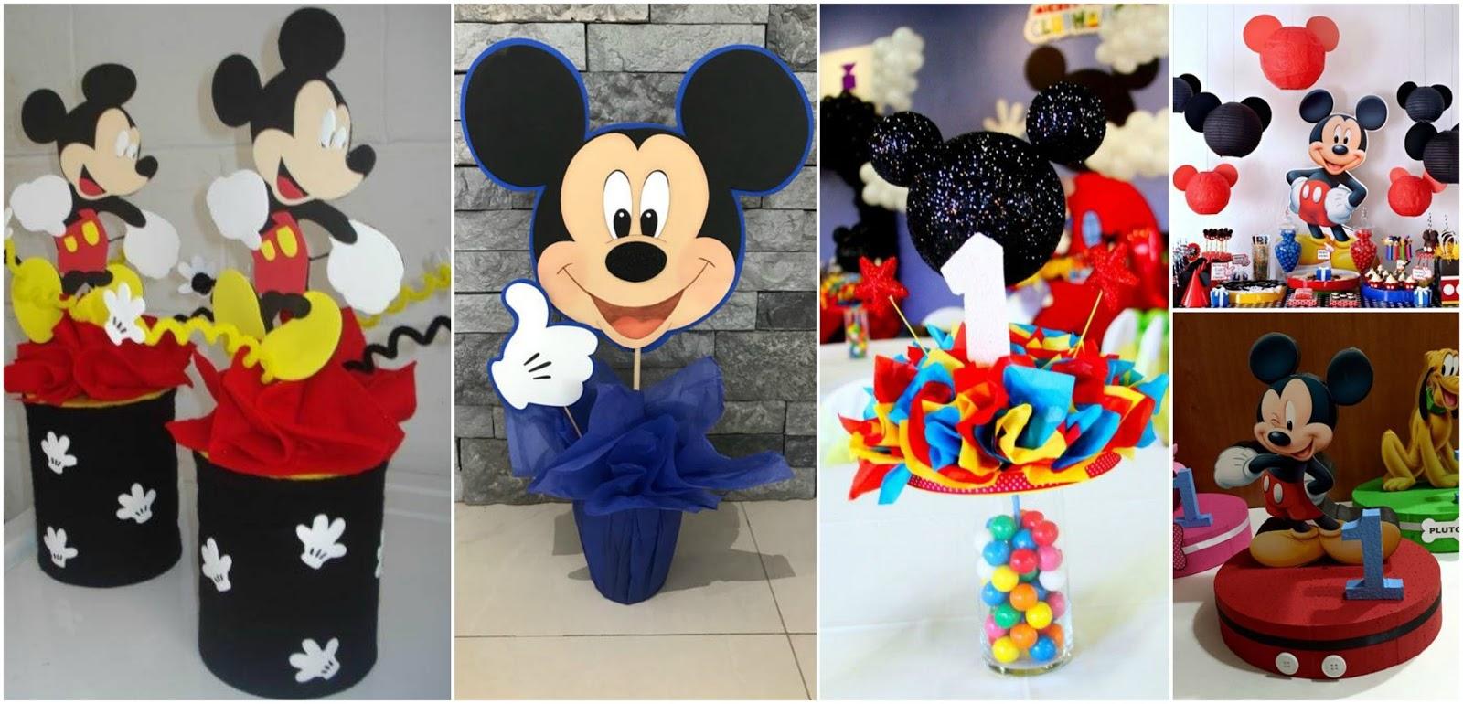 12 Centros de mesa de mickey mouse para fiestas infantiles