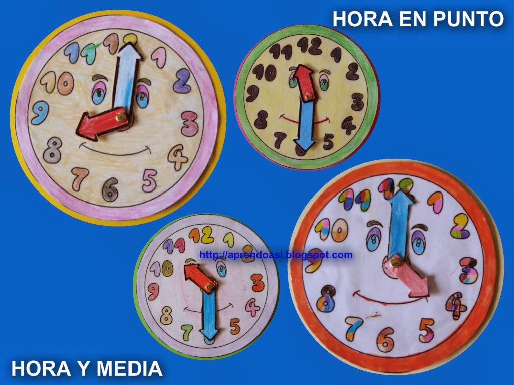 Aprendo Asi La Hora Del Reloj Horas En Punto Y Horas Y Media
