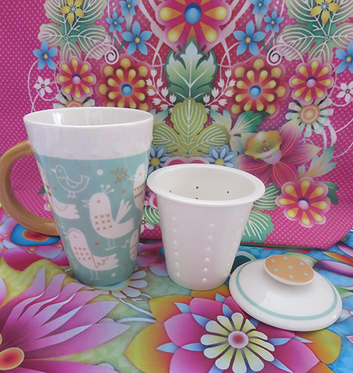 Celebrate Mother's Day with Hallmark #LoveHallmarkCA  Blue Ceramic Mug with Tea Infuser