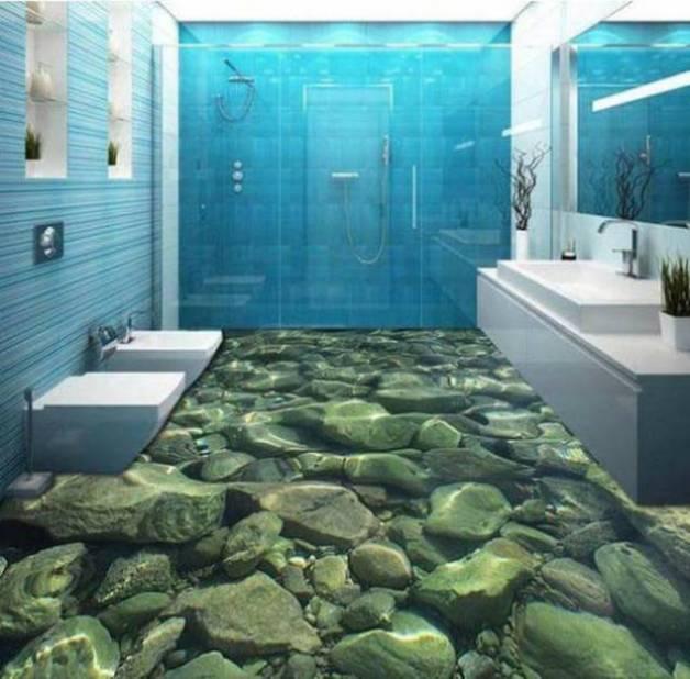 desain kamar mandi lantai 3 dimensi dunia bawah air