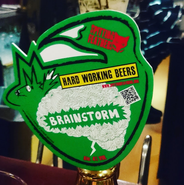 Cheshire Craft Beer Review: Brainstorm from Spitting Feathers real ale pump clip
