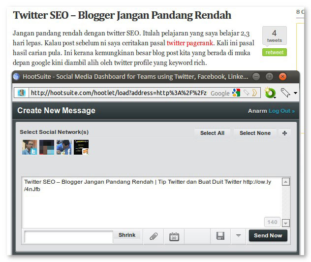 hootsuite hootlet bookmarklet