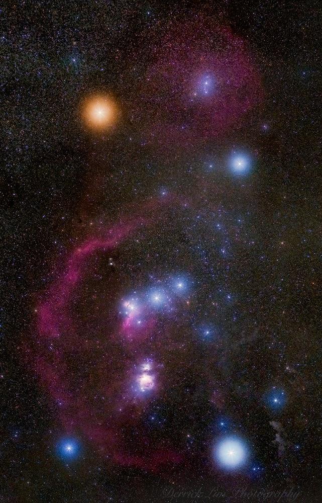 Hình ảnh góc rộng về chòm sao Orion. Hình ảnh: Derrick Lim.