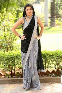 Beautiful Indian Girl Akshitha Navel Hip Show in Black Saree Navel Queens