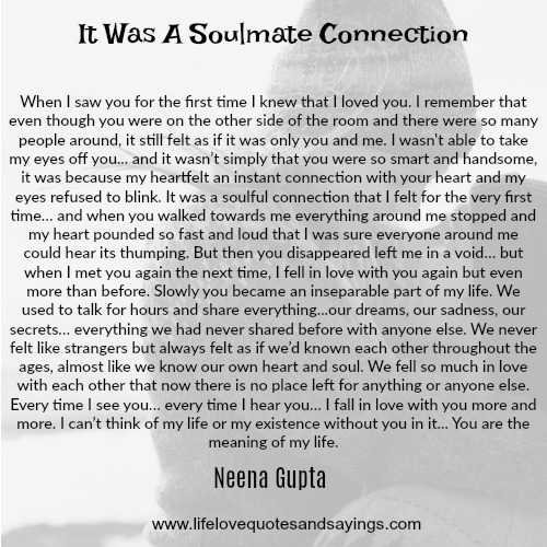 IT WAS A SOULMATE CONNECTION