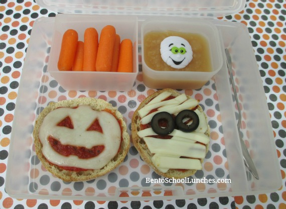 Halloween Pizza Mummy and Jack-O-Lantern Pizza lunch