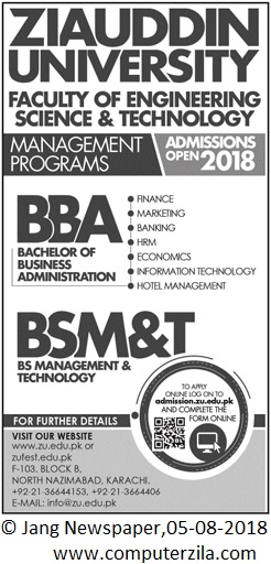Admissions Open For Fall 2018 At ZU Karachi Campus