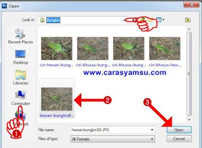 Mencari file foto dan membukanya