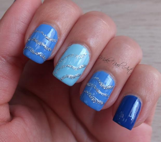 make nail art blue and silver