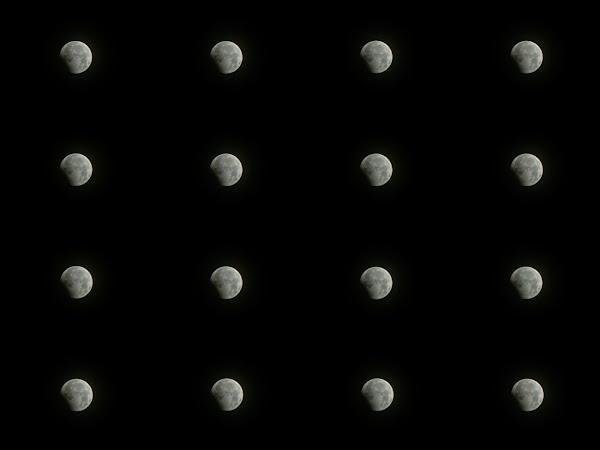 Diễn biến Mặt Trăng dần đi vào vùng bóng tối của Trái Đất khi xảy ra nguyệt thực. Hình ảnh: Nhân Lê.