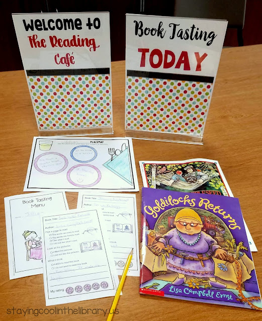 Book tasting menus and reading for elementary and middle school