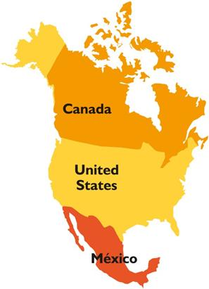North America Canada USA And Mexico PowerPoint Map States And - Canada and usa map