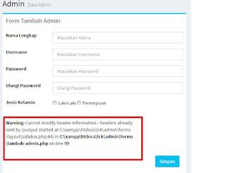 Cara mudah mengatasi Cannot modify header information php dan mysql