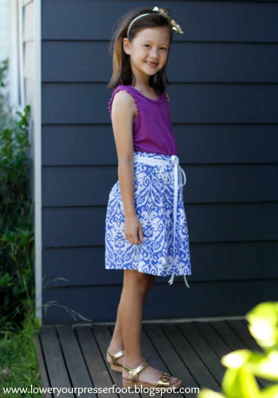burda 1/2008 #135 girls pleated skirt www.loweryourpresserfoot.blogspot.com