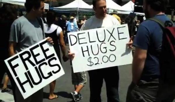 Funny Free or Deluxe Hugs Image Joke