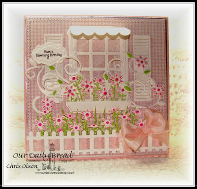 Home Sweet Home, Antique Labels and Borders die, Welcoming Window die, Flower Box Fillers die, Window Shutter and Awning die, Fancy Foliage die, Fence die, Grass Border die, Shabby Rose Paper collection, Designed by Chris Olsen