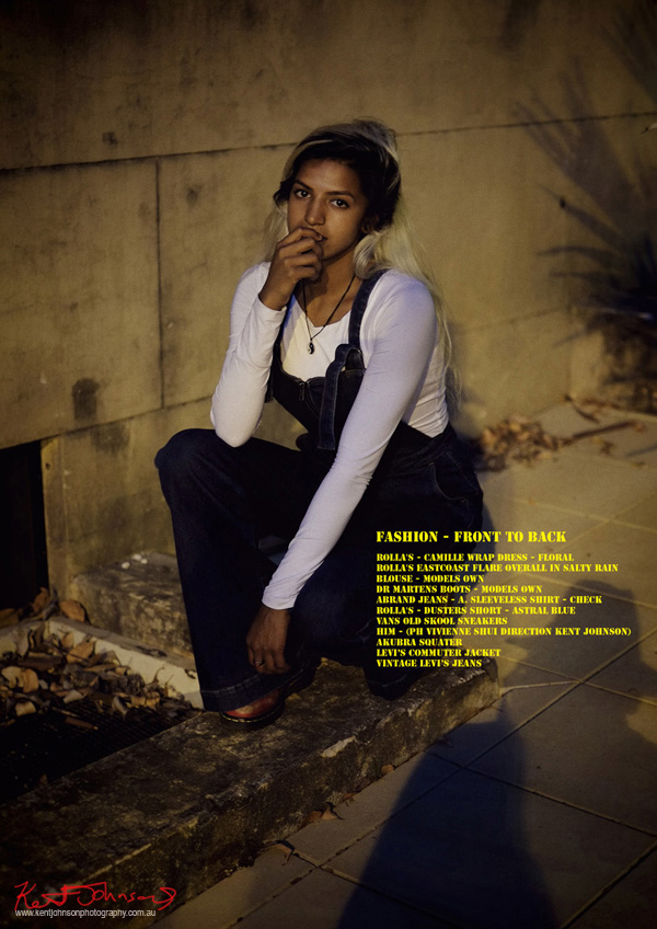 Vishmi wears Dr Martens and White Skivy Models Own, ROLLA'S Eastcoast Flare Overall, photographed for Street Fashion Sydney by Kent Johnson.