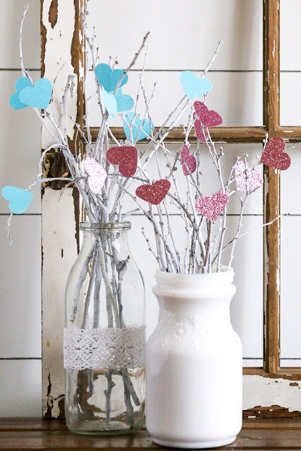 Valentines twig and hearts bouquet tutorial