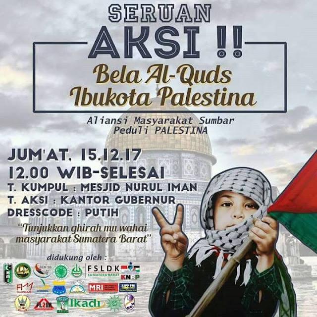 Tolak Yerusalem Ibukota Israel, Ratusan Umat Pariaman Ikut Aksi Bela Al Quds di Padang