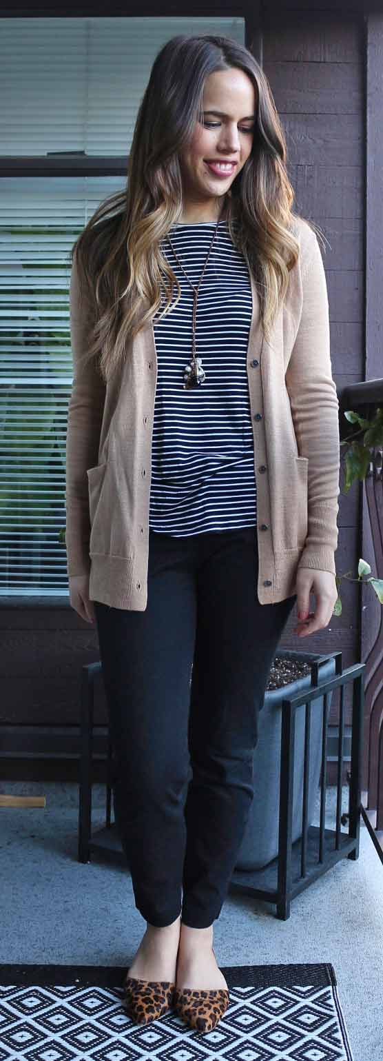 Jules in Flats - Gap Merino Wool Cardigan, Old Navy Crew Neck Layering Tee and Pixie Pants, J.Crew Factory Leopard D'Orsay Flats