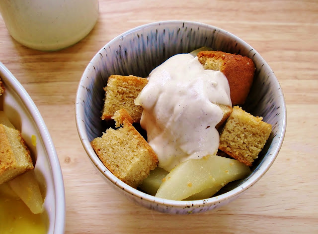 A bowl of grain free pear and ginger pudding with cashew cream