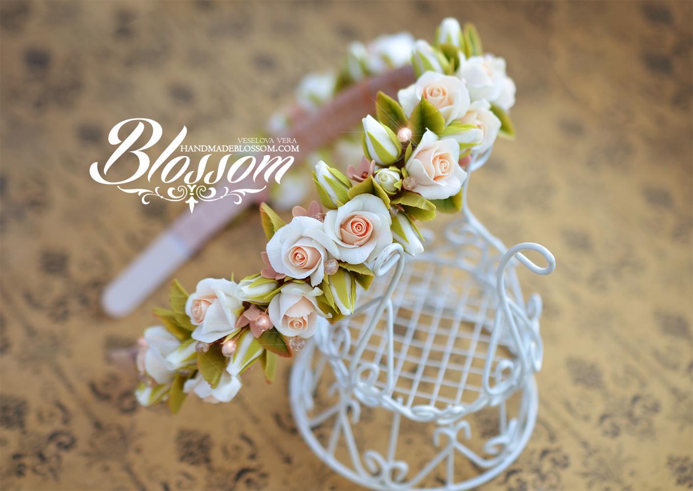 розы, ободок с розами, ободок с белыми розами, винтажный ободок, коралл, свадебный ободок, свадьба, подарок подруге, подарок на свадьбу, бежевый ободок, цветы, ободок с цветами, ободок ручной работы, красивый ободок, wedding, headband, bridal, gift, polymer clay, fimo flowers, roses, handmadeblossom, blossom, vera veselova, вера веселова, ободок, свадьба, белый, бежевый, полимерная глина, фимо
