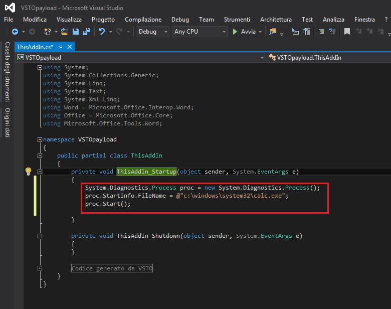 Visual Studio, Modifica della funzione ThisAddIn_Startup per richiamare un file eseguibile (calc.exe)