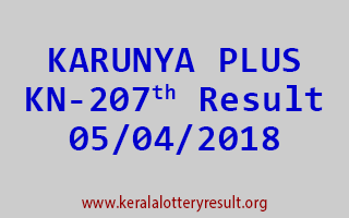 KARUNYA PLUS Lottery KN 207 Results 05-04-2018