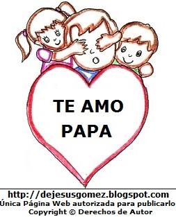 Dibujo de un papá con sus 2 hijos y un corazón. Imagen de papá de Jesus Gómez