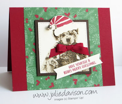 Stampin' Up! Baby Bear Christmas Card with Jolly Friends and Jolly Hat Builder Punch #stampinup www.juliedavison.com