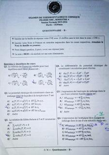 Examens et Contrôles Corrigés Thermodynamique Chimique PDF