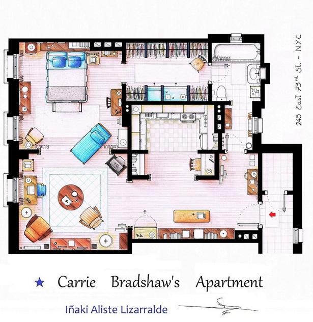 Carrie bradshaw 39 s apartment floor plan all sketched out - Carrie bradshaw apartment layout ...