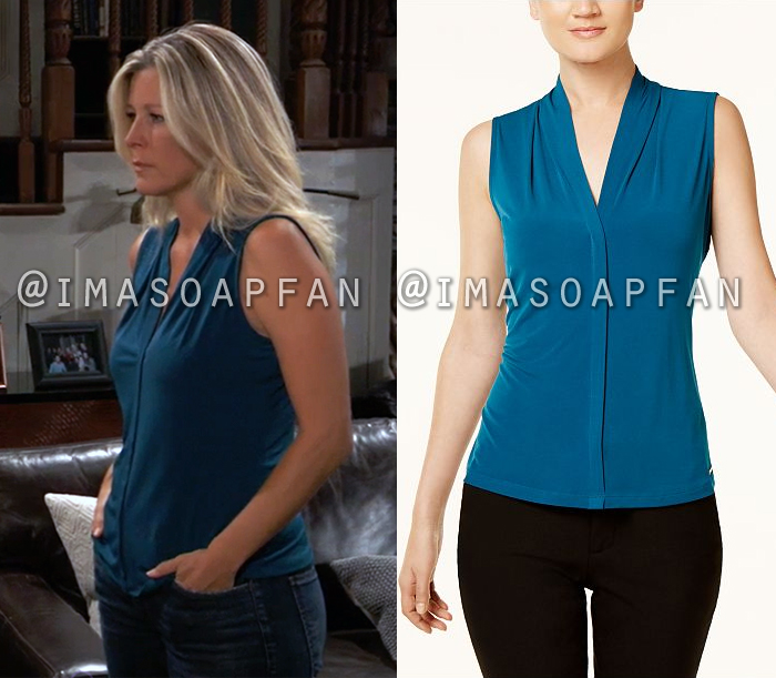 Carly Corinthos, Laura Wright, Sleeveless Teal Blue Top, General Hospital, GH