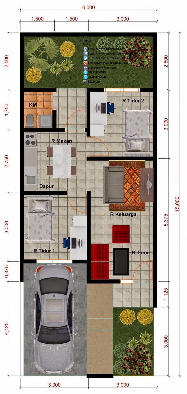 Desain Rumah Minimalis - Denah Type 45