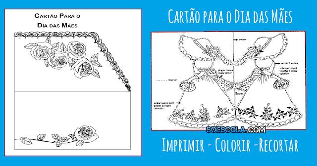 Confira dois Modelo de cartão para o Dia das Mães com uma dobra pronto para Imprimir, colorir e recortar.