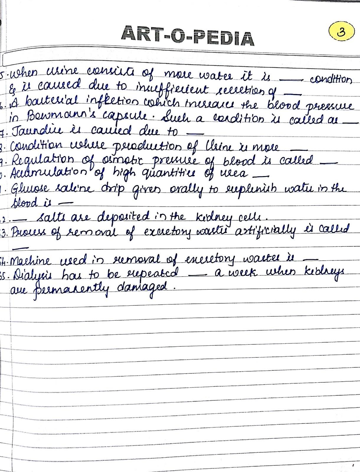 Excretory System Notes Worksheets Icse 10