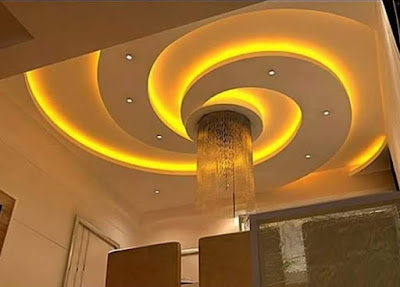 Gypsum board false ceiling design ideas for living room hall with LED indirect lighting ideas 2019