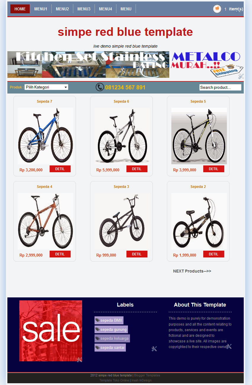 homepage template toko online blogspot simple red blue