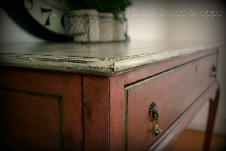 Scandinavian Pink with Old Ochre & Chateau Grey. Dark wax and speckled paint applied for extra vintage charm.