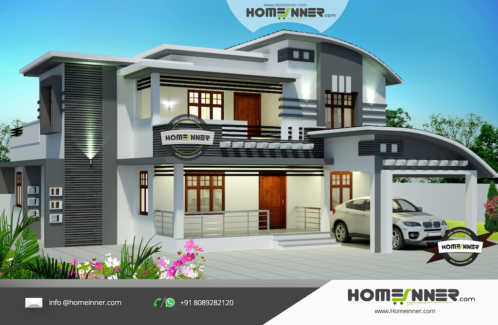 Front Elevation Design For 3bhk : Kerala contemporary sq ft bedroom home design