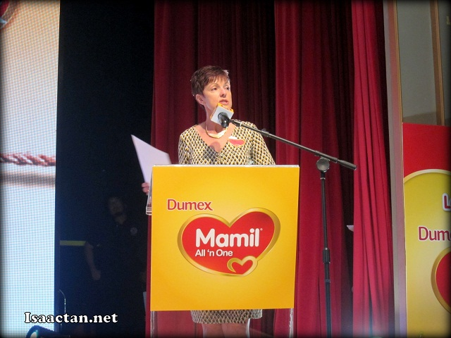 Ms Toni Brendish, Managing Director of Danone Dumex (M) Sdn Bhd addressing the floor
