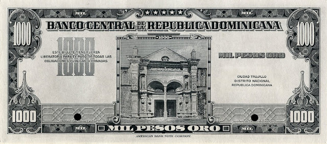 Dominican Republic Currency 1000 Gold Pesos banknote