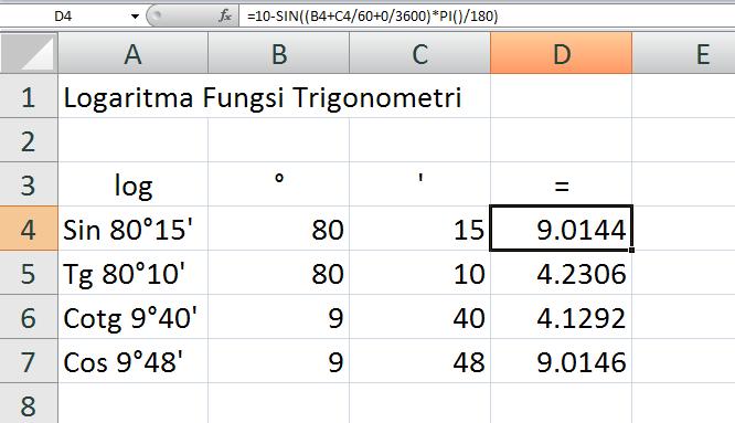 Rumus Excel Menghitung Logaritma Fungsi Trigonometri