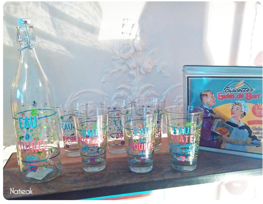 bouteille d'eau et verre retro et décalée