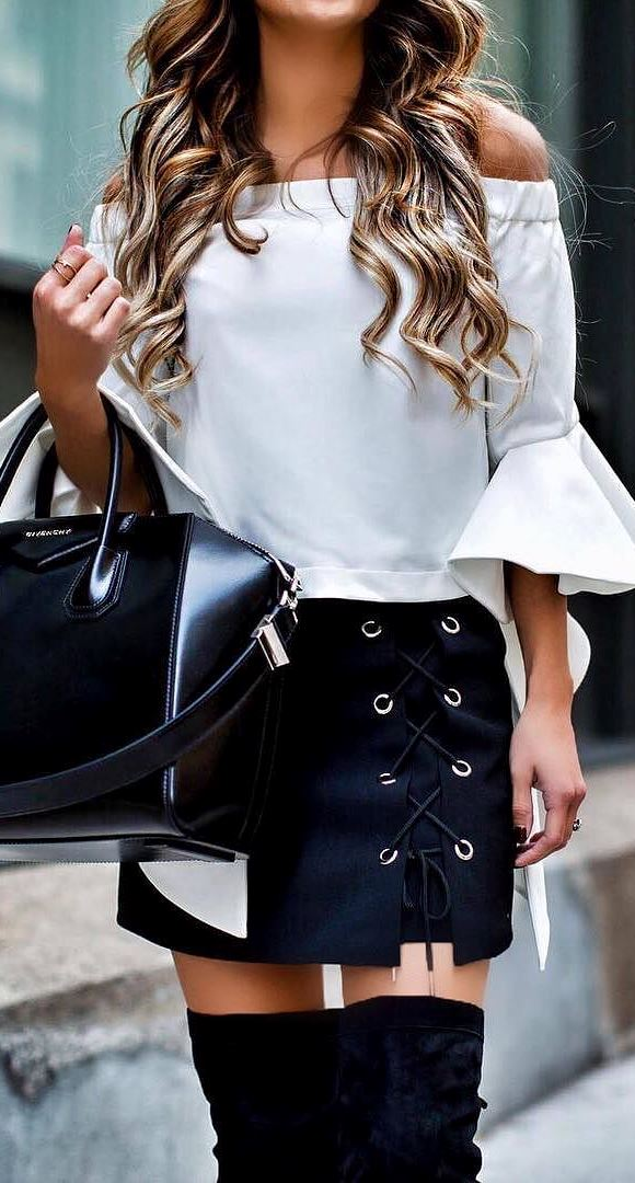 black and white outfit idea: blouse + skirt + bag
