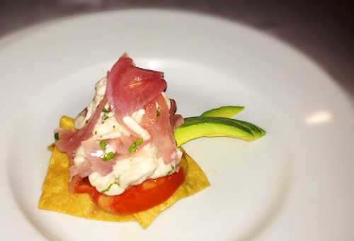 sea bass ceviche on tortilla chip