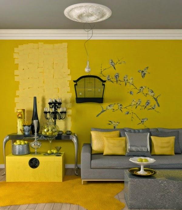 Dise o de salas en amarillo y gris salas con estilo for Diseno de paredes para salas